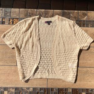 T/O CREAM/LIGHT TAN SHRUG SIZE L